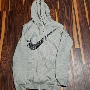 Nike Swoosh Sweatshirt Grey Hoodie Size XS